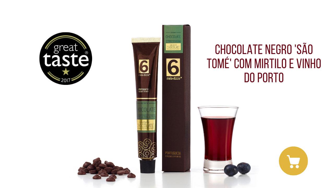 Creme de Chocolate Negro São Tomé com Mirtilos e vinho